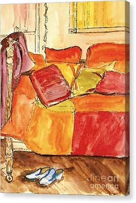 Canvas Print featuring the painting The Perfect Pair by Helena Bebirian