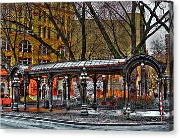 The Pergola In Pioneer Square - Seattle  Canvas Print by David Patterson