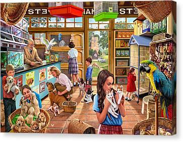 Birdcage Canvas Print - The Pet Shop by Steve Crisp