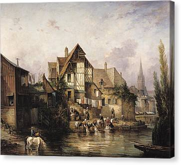 The Petits Murs Wash-house Oil On Canvas Canvas Print by Victor Theophile Tesniere