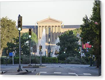 The Philadelphia Art Museum From The Parkway Canvas Print by Bill Cannon