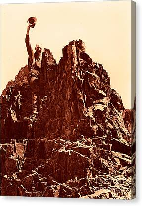 Canvas Print featuring the photograph The Photographer On Pinnacle Peak Early 1900 Era by Eddie Eastwood