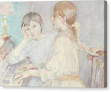 Youthful Canvas Print - The Piano by Berthe Morisot