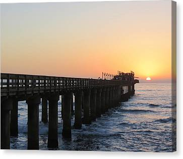 Canvas Print featuring the photograph The Pier by Ramona Johnston