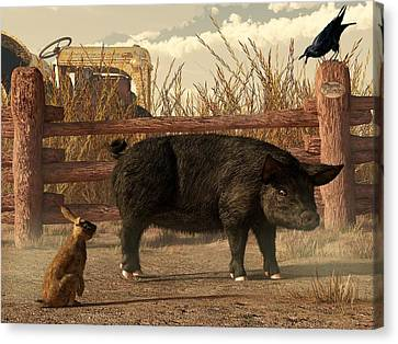 The Pig And The Hare Canvas Print by Daniel Eskridge