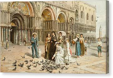 The Pigeons Of St Mark S Canvas Print by George Goodwin Kilburne