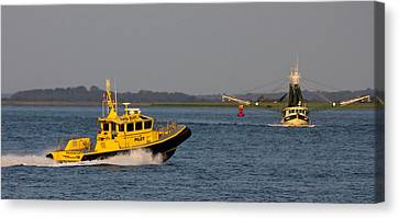The Pilot And The Shrimp Boat Predator Canvas Print by Reid Callaway