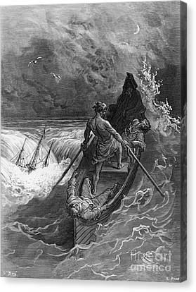 Stormy Canvas Print - The Pilot Faints Scene From 'the Rime Of The Ancient Mariner' By S.t. Coleridge by Gustave Dore