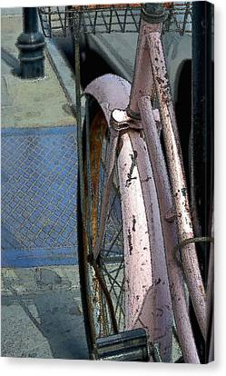 Canvas Print featuring the photograph The Pink Bicyclette by Nadalyn Larsen