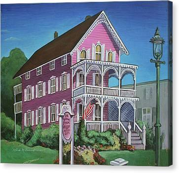 The Pink House In Cape May Canvas Print by Melinda Saminski