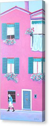 The Pink House With Green Shutters Canvas Print