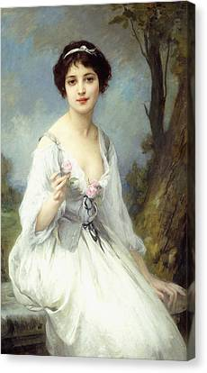 Youthful Canvas Print - The Pink Rose by Charles Amable Lenoir