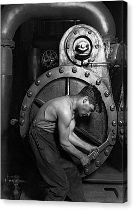 Factory Work Canvas Print - The Pipefitter - 1920 by Daniel Hagerman