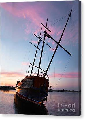 The Pirate Ship Canvas Print by Barbara McMahon