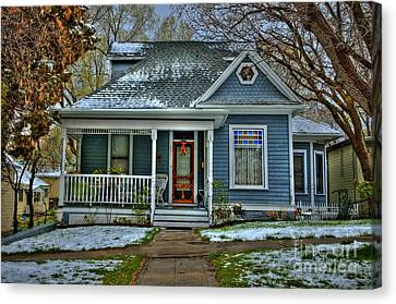 Prescott Arizona Canvas Print - The  Little Blue House In The Snow  by K D Graves