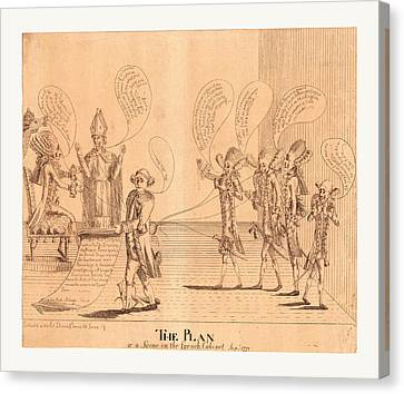 Benjamin Franklin Canvas Print - The Plan, Or A Scene In The French Cabinet by English School