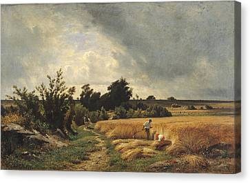 The Plateau Of Ormesson - A Path Through The Corn Oil On Canvas Canvas Print by Francois Louis Francais