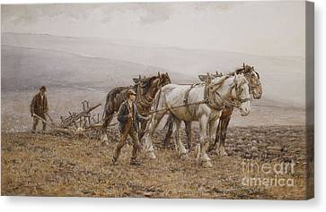 The Ploughman Wilmington Polegate Near Eastbourne Canvas Print by Joseph Harold Swanwick