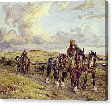 The Plow Team Canvas Print by Joseph Harold Swanwick