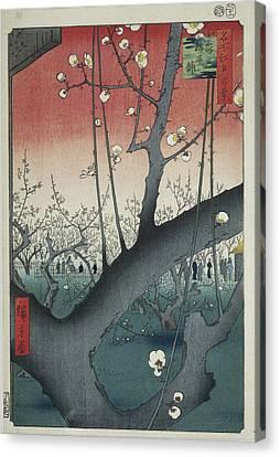 The Plum Garden At Kameido Shrine, Hiroshige Canvas Print by Quint Lox