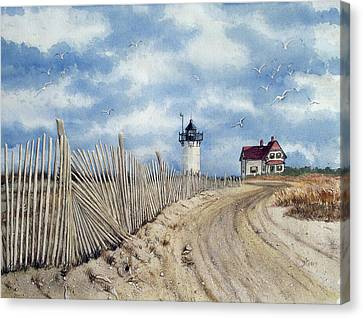 The Pole Line To Race Point Light Canvas Print