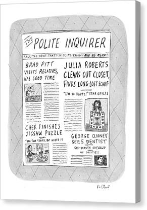 Clooney Canvas Print - The Polite Inquirer by Roz Chast