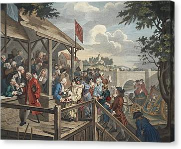 The Polling, Illustration From Hogarth Canvas Print