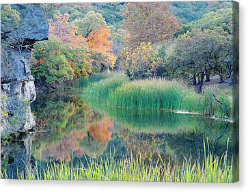 The Pond At Lost Maples State Natural Area - Texas Hill Country Canvas Print by Silvio Ligutti
