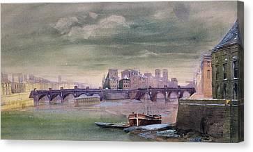The Pont-neuf And The Ile De La Cite Canvas Print by Henri Jean-Baptiste Levis