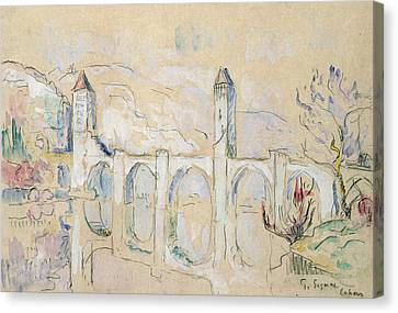 The Pont Valentre, Cahors  Canvas Print by Paul Signac