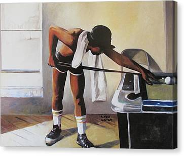 Canvas Print featuring the painting The Pool Player by Linda Novick