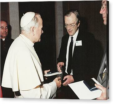 The Pope And Maurice Wilkins Canvas Print by King's College London Archives