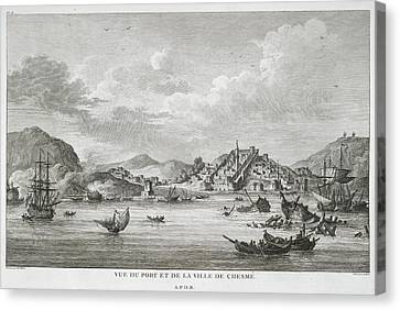 The Port And Town Of Chesme Canvas Print by British Library