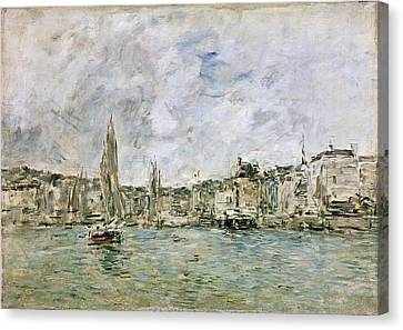The Port At Honfleur, 1896 Oil On Canvas Canvas Print by Eugene Louis Boudin
