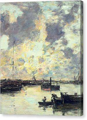The Port Canvas Print by Eugene Louis Boudin