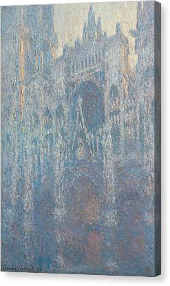 The Portal Of Rouen Cathedral In Morning Light Canvas Print by Claude Monet