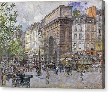 The Porte Saint-martin, 1898 Oil On Board Canvas Print