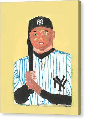The Portrait Of Derek Jeter Canvas Print by Nat Solomon
