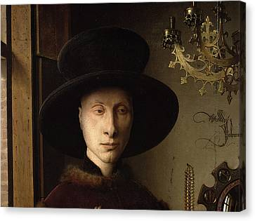 The Portrait Of Giovanni ? Arnolfini And His Wife Giovanna Cenami ? The Arnolfini Marriage 1434 Oil Canvas Print by Jan van Eyck
