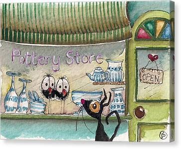 The Pottery Store Canvas Print by Lucia Stewart