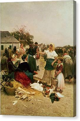 The Poultry Market Canvas Print by Lajos Deak Ebner