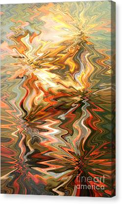 Gray And Orange Peaceful Abstract Art Canvas Print by Carol Groenen