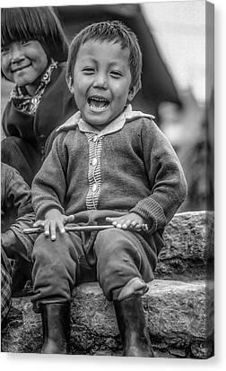 Tibetan Canvas Print - The Power Of Smiles Bw by Steve Harrington