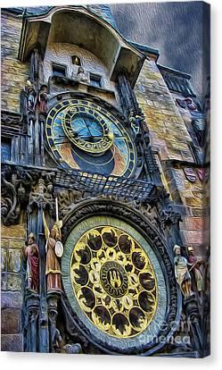The Prague Astronomical Clock IIi Canvas Print by Lee Dos Santos