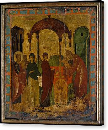 The Presentation In The Temple Canvas Print by Byzantine Painter