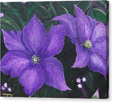 Canvas Print featuring the painting The President Clematis by Sharon Duguay