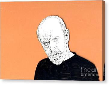 Canvas Print featuring the mixed media The Priest On Orange by Jason Tricktop Matthews