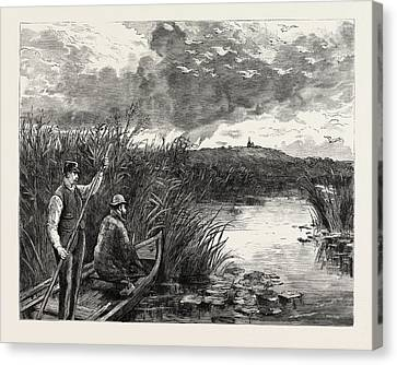 The Prince Of Wales Shooting Wild Swans At Ekolsund Canvas Print by Swedish School