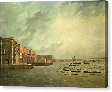 Lord Admiral Nelson Canvas Print - The Procession Of Barges Attending Lord Nelsons Body From Greenwich Hospital, January 8th 1806 Oil by Daniel Turner