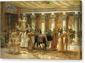 Ancient Egyptian Canvas Print - The Procession Of The Sacred Bull by Frederick Arthur Bridgman